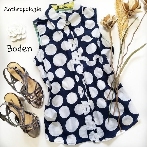 Anthropologie Tops - 💝🌷Boden - Blue White Polka-dot Sleeveless Top 6
